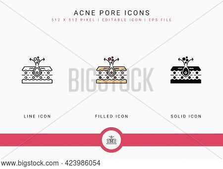 Acne Pore Icons Set Vector Illustration With Solid Icon Line Style. Skin Inflammation Dermatology Co