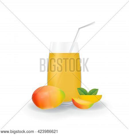 Realistic Mango Fruit Juice In Glass Straw Healthy Organic Drink Illustration