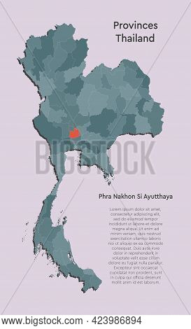 Asia Country Thailand, Vector Map Divided Regions