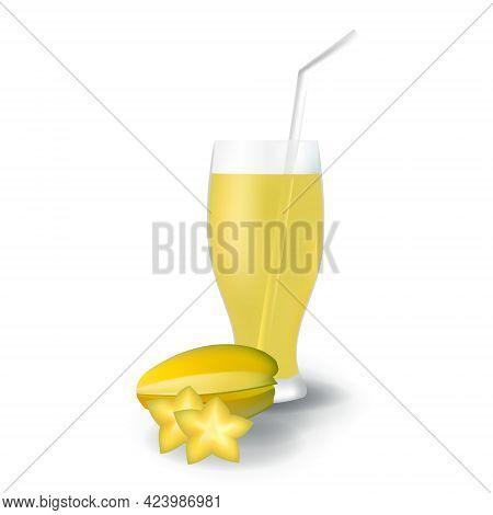 Realistic Starfruit Fruit Juice In Glass Straw Healthy Organic Drink Illustration