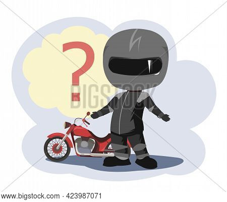 Biker Cartoon. Child Illustration. Does Not Know. Sports Uniform And Helmet. Cool Motorcycle. Choppe