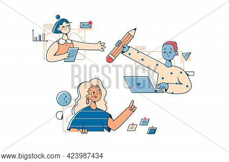 Team Remote Work From Home Vector Illustration. Working Online From Any Workplace Flat Style. Video