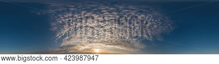Dark Blue Sunset Sky Pano With Cumulus Clouds. Seamless Hdr Panorama In Spherical Equirectangular Fo