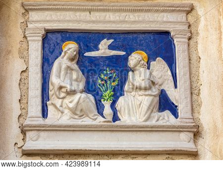 Marble Bas-relief Depicting The Annunciation On The Wall Of A House In Polignano A Mare. Italy