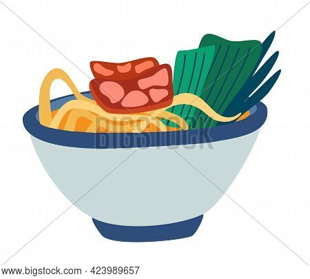 Ramen Noodles Soup. Asian And Japanese Traditional Food. Chinese Chicken Or Beef Noodle Soup With No