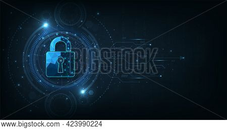 Data Prevent And Cyber Security Design.visualization Of Cyber Security With Padlock  Lock On Dark Bl