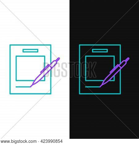 Line Blank Notebook And Pen Icon Isolated On White And Black Background. Paper And Pen. Colorful Out