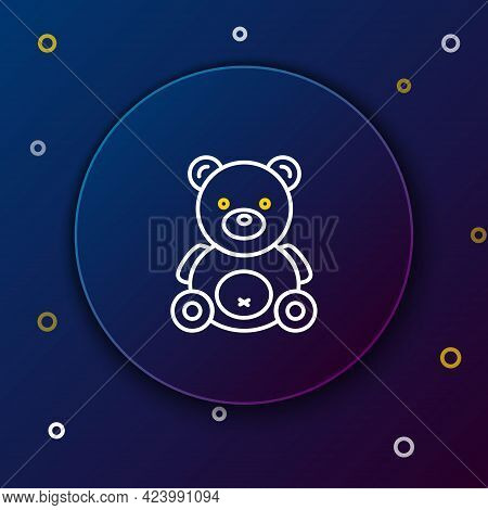 Line Teddy Bear Plush Toy Icon Isolated On Blue Background. Colorful Outline Concept. Vector