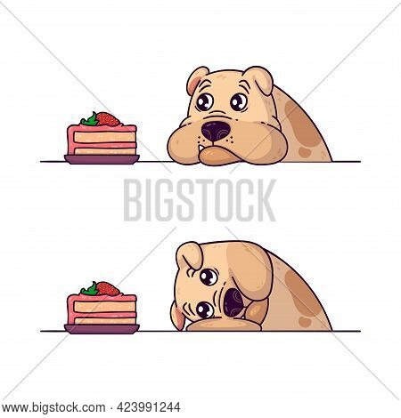The Bulldog Looks At A Piece Of Cake. Endurance Training With Your Dog. Pet Obesity. Vector Illustra