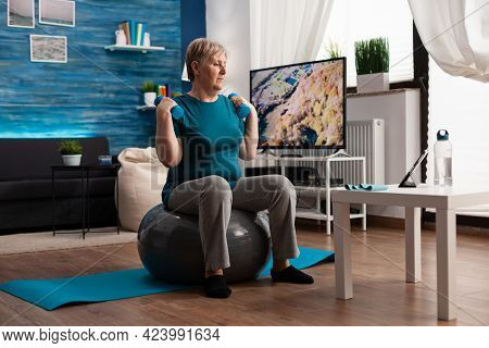 Focused Senior Man Exercising Body Resistance Workout Doing Arms Exercise Using Dumbbell Sitting On