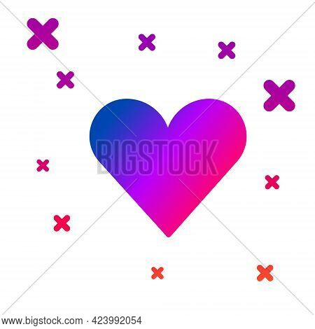 Color Heart Icon Isolated On White Background. Romantic Symbol Linked, Join, Passion And Wedding. Va