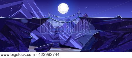 Suspended Mountain Bridge Above Night Cliff, Rock Peaks And Full Moon Scenery Landscape. Beautiful N
