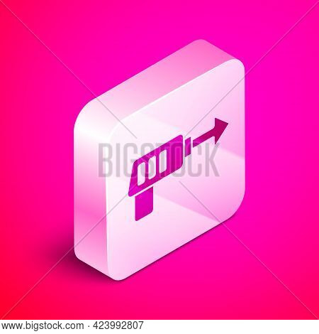 Isometric Fishing Harpoon Icon Isolated On Pink Background. Fishery Manufacturers For Catching Fish