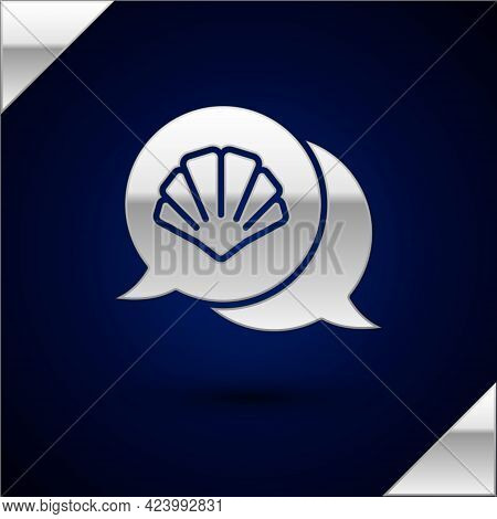 Silver Scallop Sea Shell Icon Isolated On Dark Blue Background. Seashell Sign. Vector