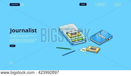 Journalist Banner With Equipment For Interview. Vector Landing Page Of Broadcast Author, Newspaper W