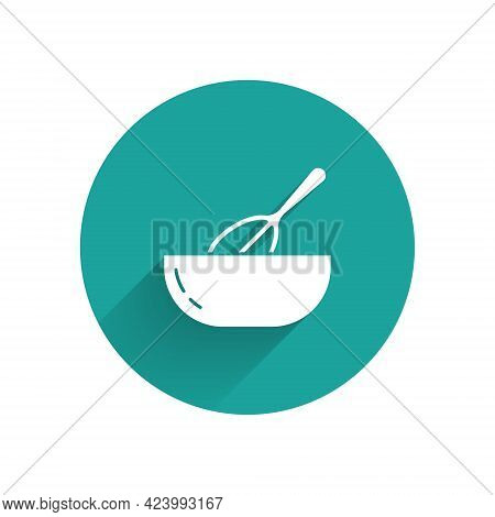 White Kitchen Whisk And Bowl Icon Isolated With Long Shadow. Cooking Utensil, Egg Beater. Cutlery Si