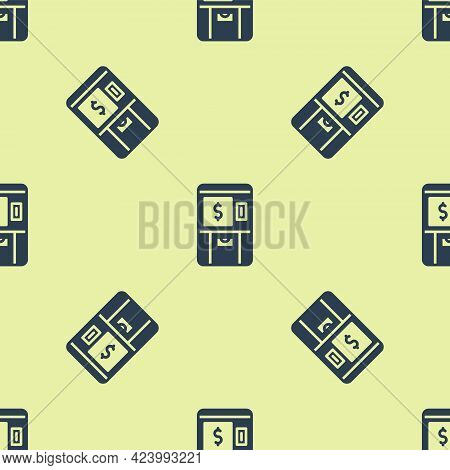 Blue Atm - Automated Teller Machine And Money Icon Isolated Seamless Pattern On Yellow Background. V