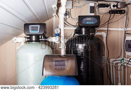Home Water Filter Softener System. Water Purification.