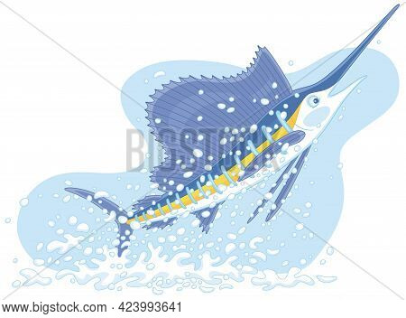 Large Marine Swordfish In Splashes, Jumping Out Of Water In A Tropical Sea, Vector Cartoon Illustrat