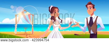 Beach Wedding Ceremony With Newlywed Couple, Floral Arch On Sea Shore. Vector Cartoon Landscape Of T