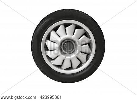 Sports Car Wheel On A Light Alloy Rim Isolated On White Background