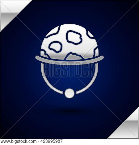 Silver Military Helmet Icon Isolated On Dark Blue Background. Army Hat Symbol Of Defense And Protect