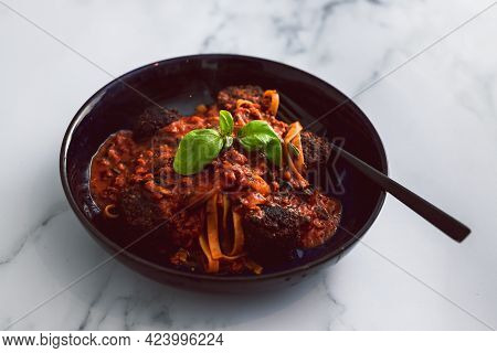 Spaghetti Bowl With Vegan Meatballs, Healthy Plant-based Food
