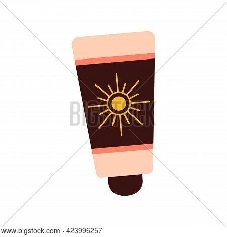 Body Lotion Protects From The Sun. Skin Cream. Tanning Oil. Isolated Background. Stock Vector Illust