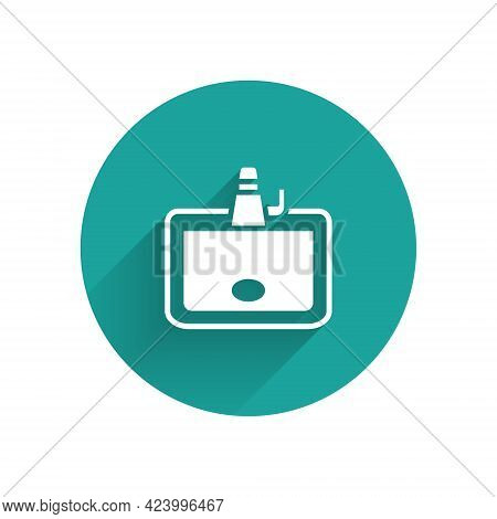White Washbasin With Water Tap Icon Isolated With Long Shadow. Green Circle Button. Vector