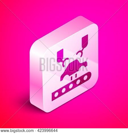 Isometric Industrial Machine Robotic Robot Arm Hand On Car Factory Icon Isolated On Pink Background.