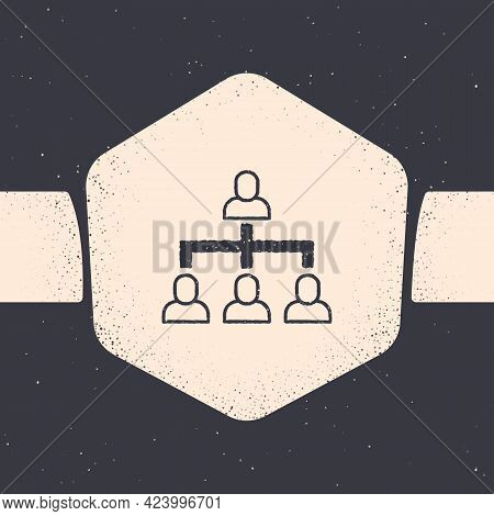 Grunge Business Hierarchy Organogram Chart Infographics Icon Isolated On Grey Background. Corporate