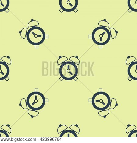 Blue Alarm Clock Icon Isolated Seamless Pattern On Yellow Background. Wake Up, Get Up Concept. Time