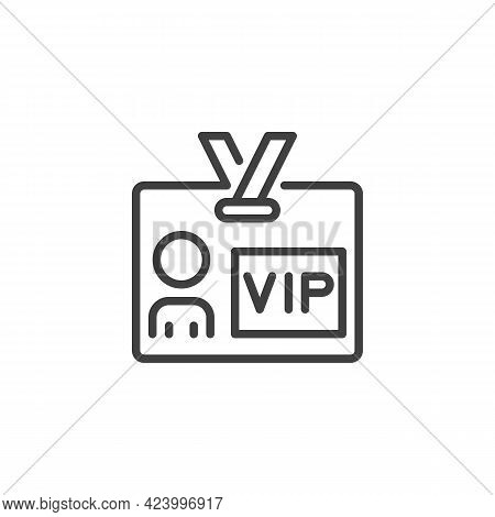 Vip Person Card Line Icon. Linear Style Sign For Mobile Concept And Web Design. Vip Member Badge Out