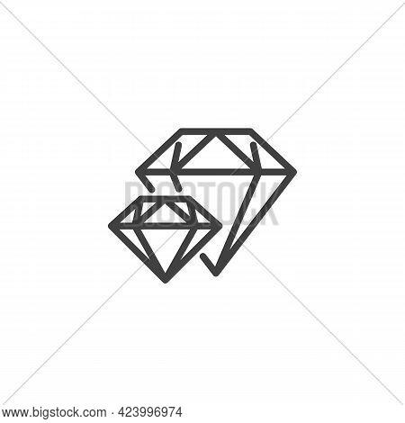 Brilliant, Diamond Line Icon. Linear Style Sign For Mobile Concept And Web Design. Precious Stone Ou