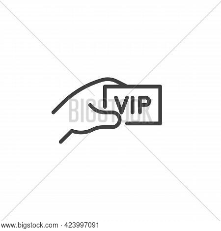 Hand With Vip Ticket Line Icon. Linear Style Sign For Mobile Concept And Web Design. Vip Pass Outlin