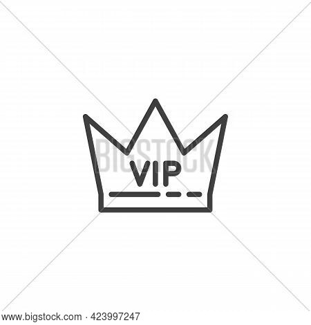 Vip, Premium Line Icon. Linear Style Sign For Mobile Concept And Web Design. Vip Crown Outline Vecto