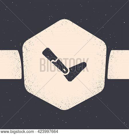 Grunge Prosthesis Leg Icon Isolated On Grey Background. Futuristic Concept Of Bionic Leg, Robotic Me