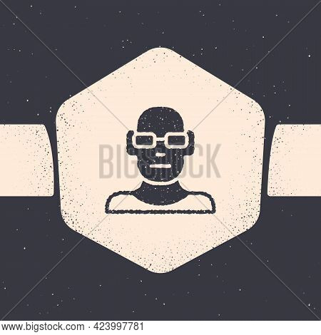 Grunge Poor Eyesight And Corrected Vision With Optical Glasses Icon Isolated On Grey Background. Mon