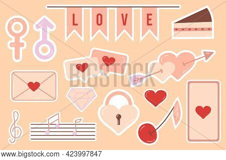 Sticker. Beautiful Love Stickers. Romantic Objects For Planner And Organizer. Weekly Glider. For Soc
