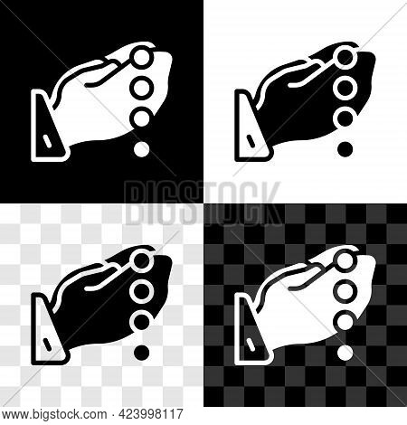 Set Hands In Praying Position With Rosary Icon Isolated On Black And White, Transparent Background.