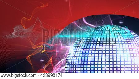 Digitally generated image of digital waves and disco ball against red technology background. technology background with texture and design