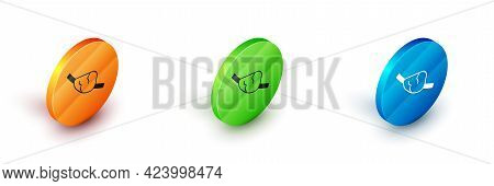 Isometric Pirate Eye Patch Icon Isolated On White Background. Pirate Accessory. Circle Button. Vecto