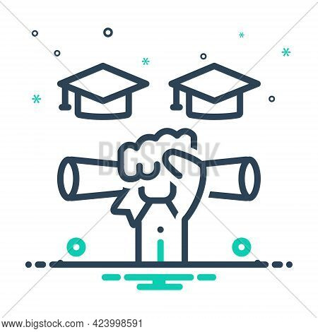 Mix Icon For Gradutaion Scholarship Certificate Diploma Success Education