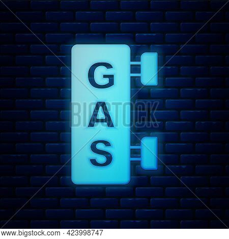 Glowing Neon Gas Filling Station Icon Isolated On Brick Wall Background. Transport Related Service B