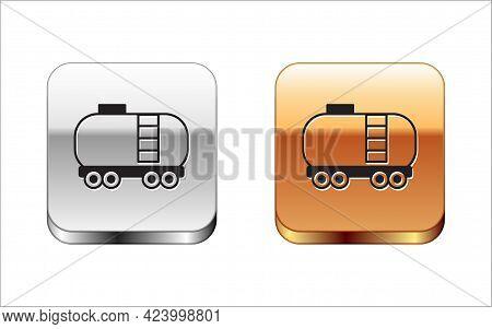 Black Oil Railway Cistern Icon Isolated On White Background. Train Oil Tank On Railway Car. Rail Fre