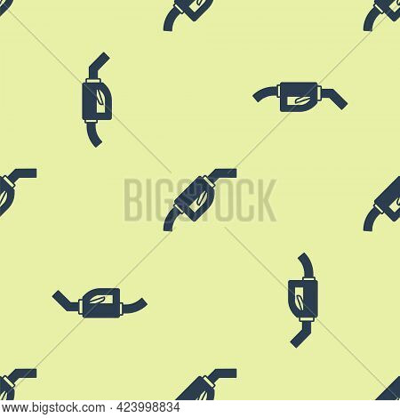 Blue Gasoline Pump Nozzle Icon Isolated Seamless Pattern On Yellow Background. Fuel Pump Petrol Stat