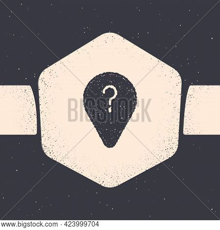 Grunge Unknown Route Point Icon Isolated On Grey Background. Navigation, Pointer, Location, Map, Gps