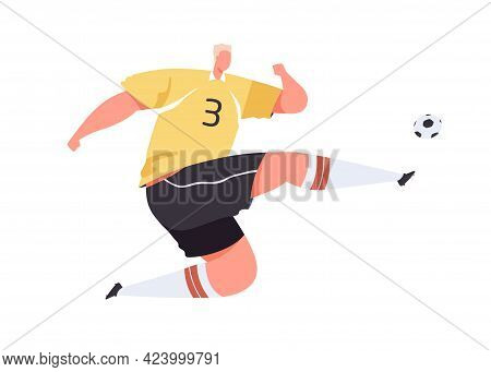 Soccer Player Kicking Ball With Foot. Athlete In Uniform Playing European Football. Professional Foo