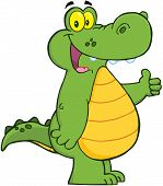 Smiling Alligator Or Crocodile Showing Thumbs Up poster