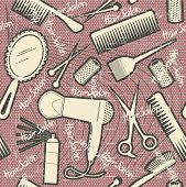 hairdressing equipment seamless pattern.Vintage on old texture poster